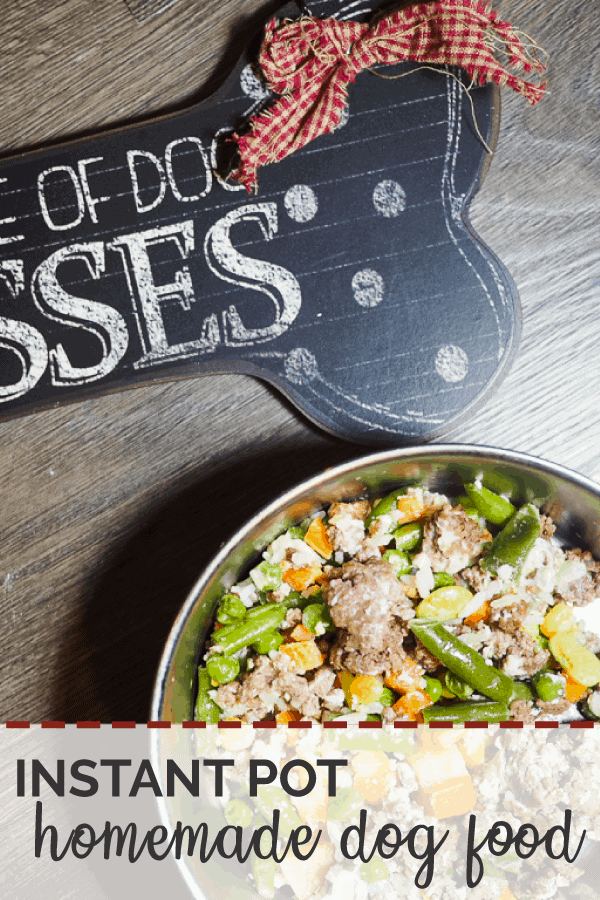 "A pin image of a bowl of ground beef, vegetables, and rice with a ""Beware of Dog Kisses"" sign on a gray wood background."