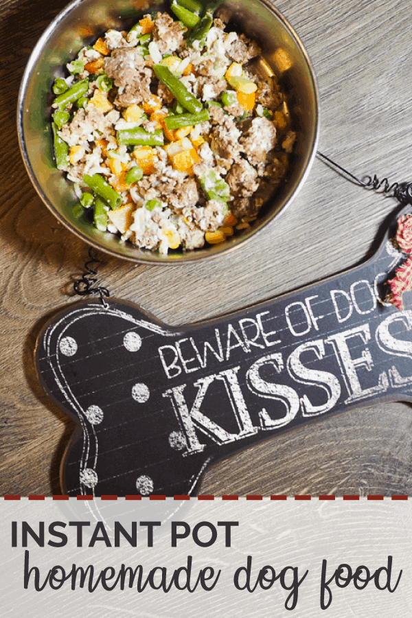 "A pin image of bowls of ground beef, vegetables, and rice with a ""Beware of Dog Kisses"" sign on a gray wood background."