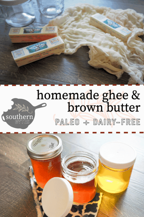 Three sticks of butter, a cheesecloth, and three jars of ghee with a title and logo in the middle.