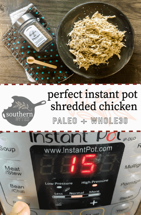 A pinterest image of shredded chicken on a gray plate, a wooden spoon, a brown and green napkin, and a jar of herbes de provence on a gray wood floor on the top and an instant pot on the bottom.