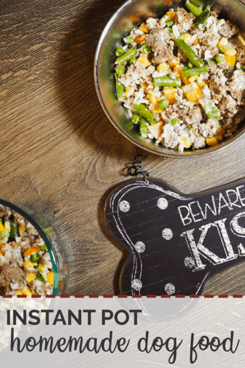 """A pin image of bowls of ground beef, vegetables, and rice with a """"Beware of Dog Kisses"""" sign on a gray wood background."""