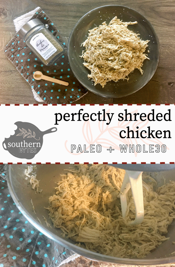 A pinterest image of shredded chicken on a gray plate, a wooden spoon, a brown and green napkin, and a jar of herbes de provence on a gray wood floor on the top and chicken being shredded in a mixer on the bottom.