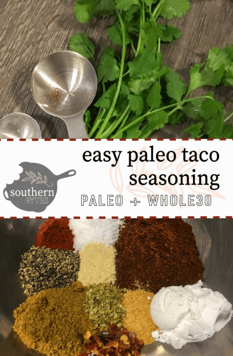 Cilantro and measuring spoons on a gray tile surface and a metal bowl of taco seasoning with a title and logo in the middle.