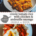 A bowl of creole tomato rice with chicken and sausage with a blue and white napkin with a logo and title and a plate with tomato sauce and an egg.