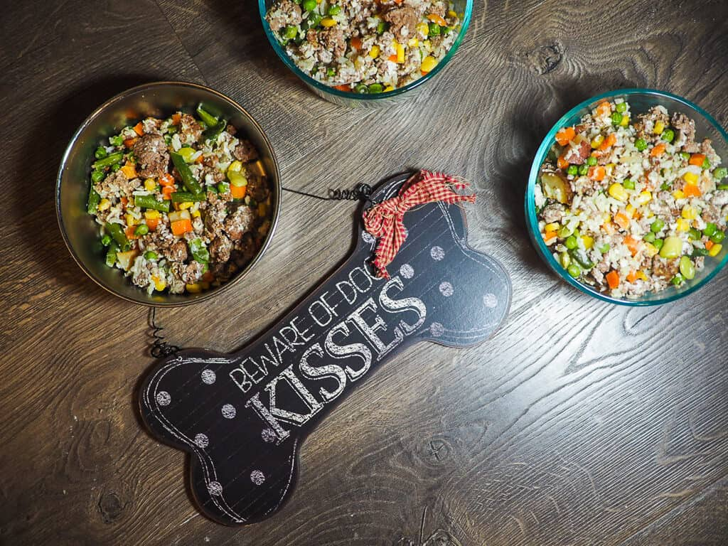 """Bowls of ground beef, vegetables, and rice with a """"Beware of Dog Kisses"""" sign on a gray wood background."""