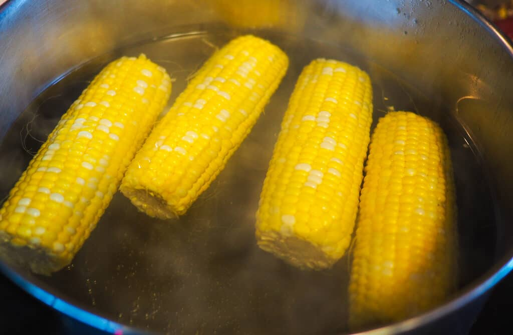 Four ears of corn boiling in a pot of water.