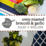 A white plate with roasted broccoli and onions on a marble countertop with a blue and white napkin and a small fork.