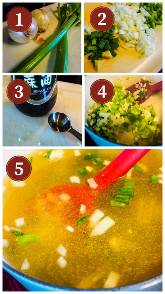A collage of photos showing the process of making homemade egg drop soup, steps 1-5.