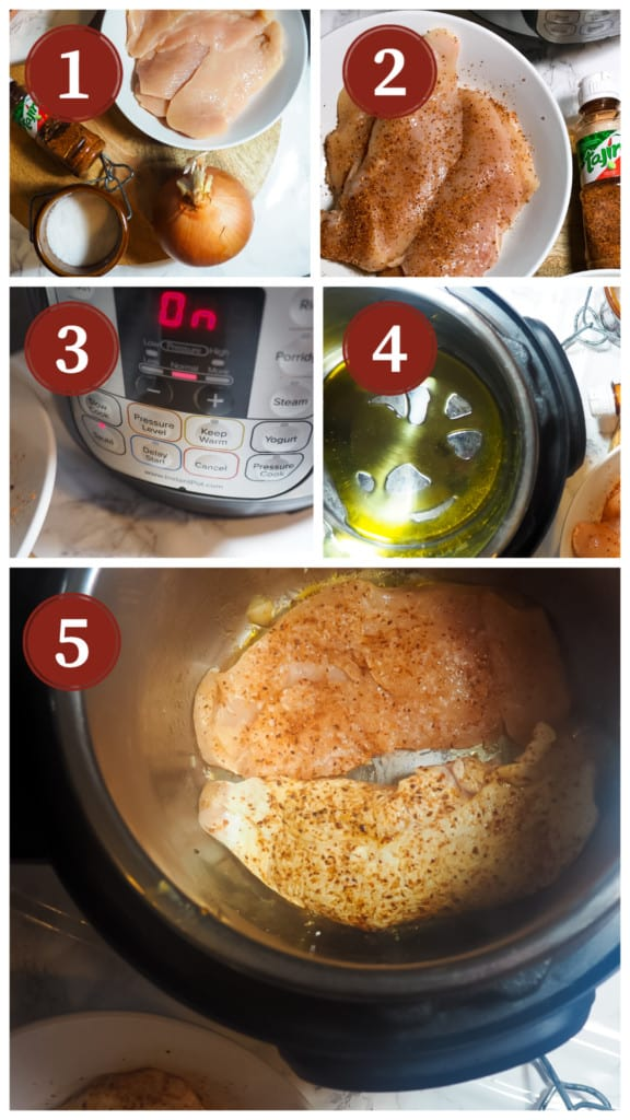 A process collage of images for making chili lime chicken an instant pot, steps 6 - 10.