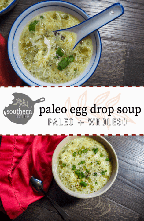 A pin image with a large beige bowl with paleo egg drop soup with a red napkin, two eggs for decoration, and a silver spoon on the bottom half and a small blue and white bowl of paleo egg drop soup on the top half.