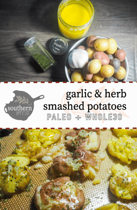 A jar of parsley, a jar of ghee, and a metal bowl of baby potatoes with a head of garlic on a gray wood background and smashed baby potatoes on a non-stick baking mat with ghee, garlic, and parsley.