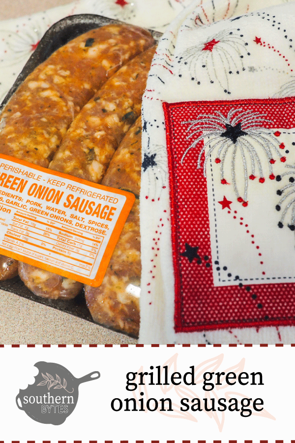 Green onion sausage and a dishtowel with fireworks with text overlay.