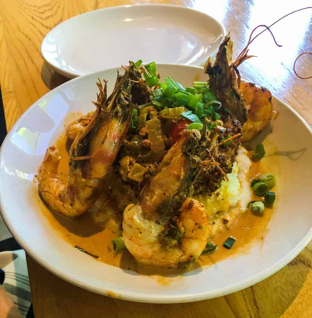 A plate of shrimp and grits from a restaurant in New Orleans.