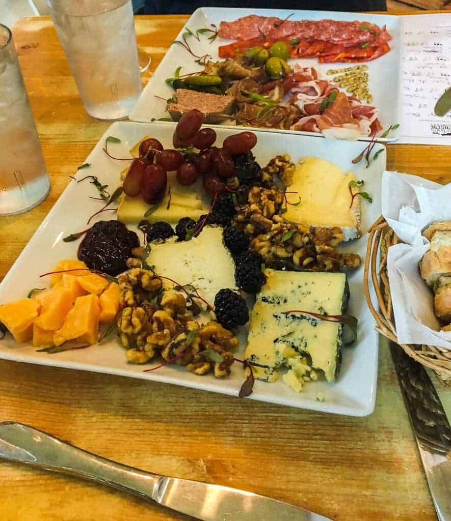 A cheese plate and charcuterie board at the St. James Cheese Restaurant in New Orleans.