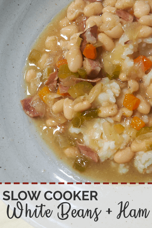 White beans and ham soup in a gray bowl on a white wooden background with a bag of spilled Camellia Brand White Northern Beans.