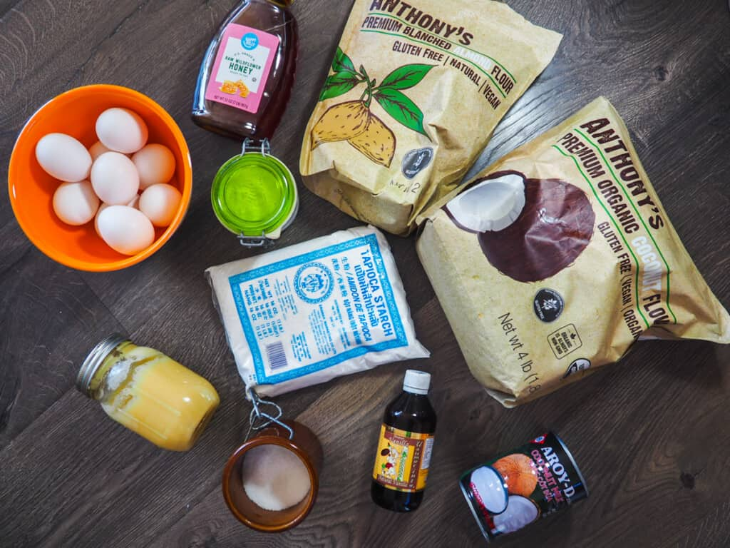 The ingredients for paleo pancakes. Made from almond flour, coconut flour, honey, coconut milk, tapioca starch, salt, eggs, vanilla extract and baking powder.