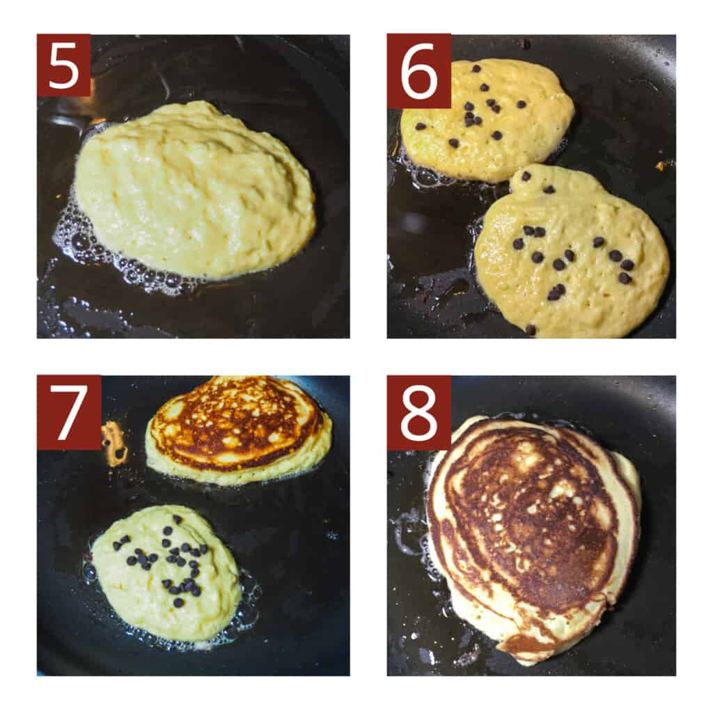 A photo collage of the process for making paleo chocolate chip pancakes in a red Pioneer Woman bowl.