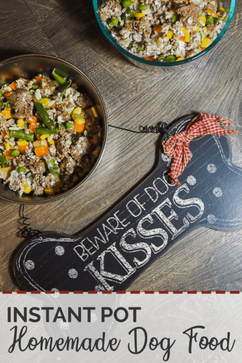 """Homemade dog food - bowls of ground beef, vegetables, and rice with a """"Beware of Dog Kisses"""" sign on a gray wood background."""