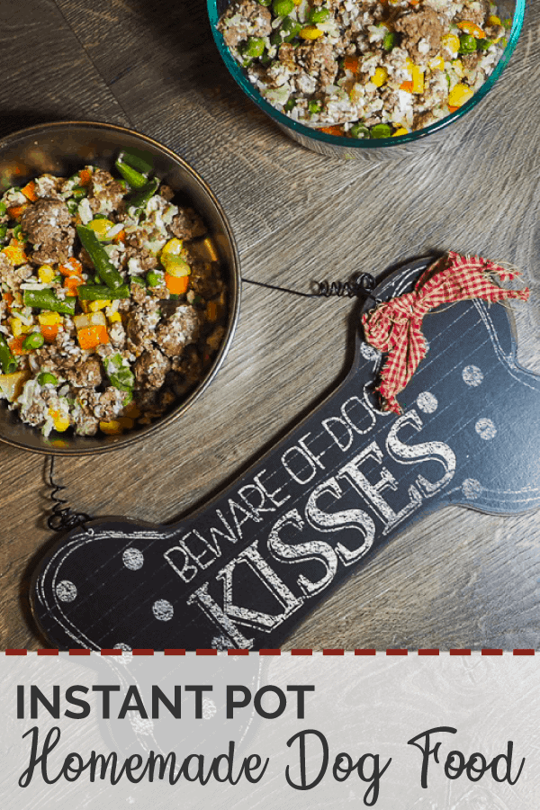 "Homemade dog food - bowls of ground beef, vegetables, and rice with a ""Beware of Dog Kisses"" sign on a gray wood background."