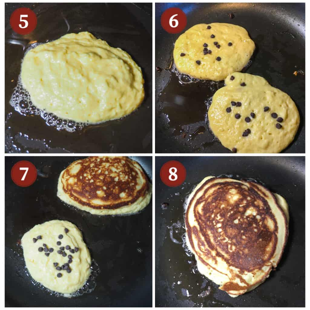 The process of cooking paleo chocolate chip pancakes in a collage.