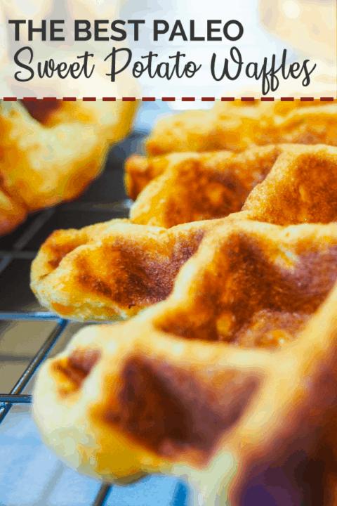A close up image of a paleo sweet potato waffle on a cooling rack.
