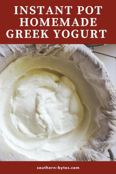 A pin image of a bowl of greek yogurt straining in cheesecloth.