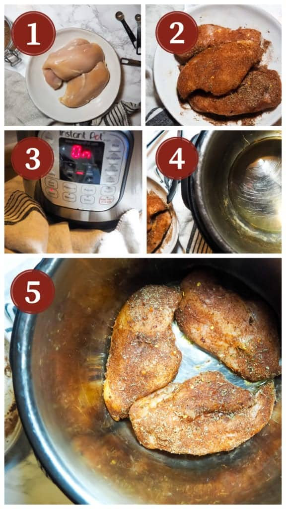 A collage of images of the process of cooking Jamaican Jerk Chicken in an Instant Pot. Steps 1-5.