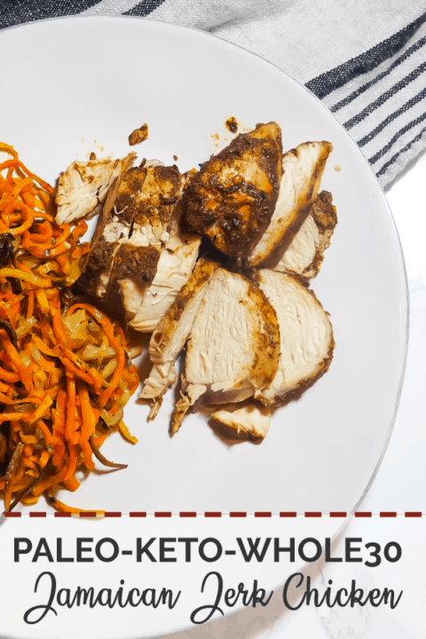 A pin image of a white plate with crispy sweet potato noodles and sliced Jamaican Jerk Chicken.