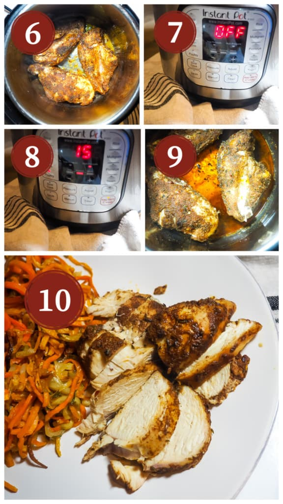 A collage of images of the process of cooking Jamaican Jerk Chicken in an Instant Pot. Steps 5 - 9.