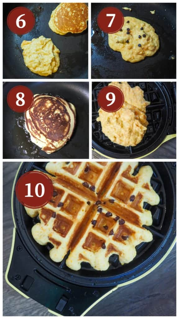 A photo collage of the process for making paleo sweet potato chocolate chip pancakes and waffles.