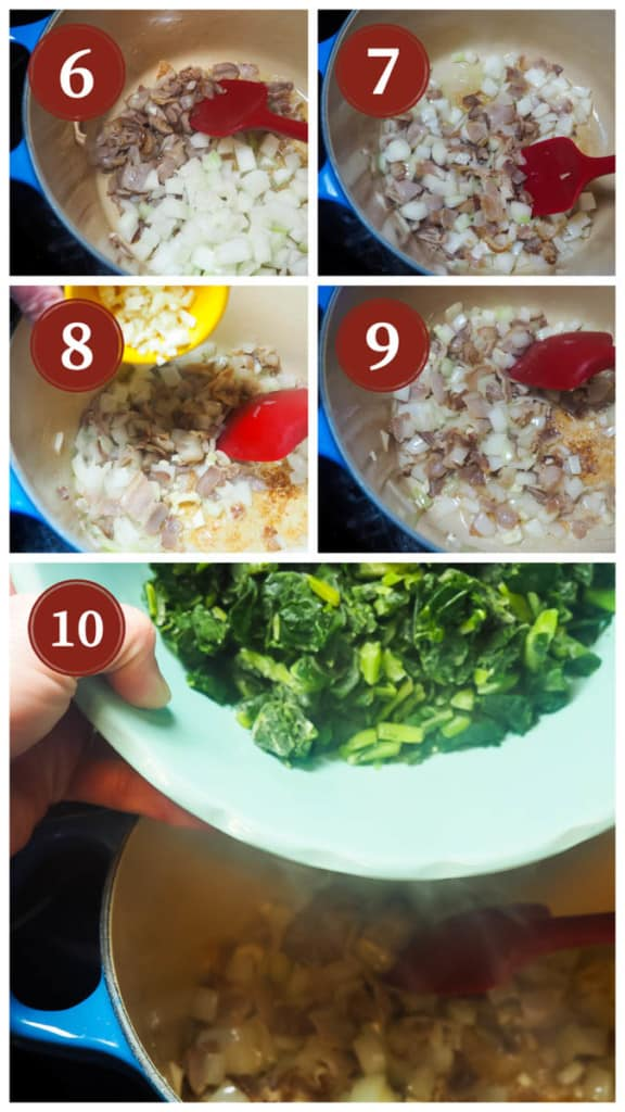 A collage of pictures showing the process of cooking collard greens, steps 6 - 10.