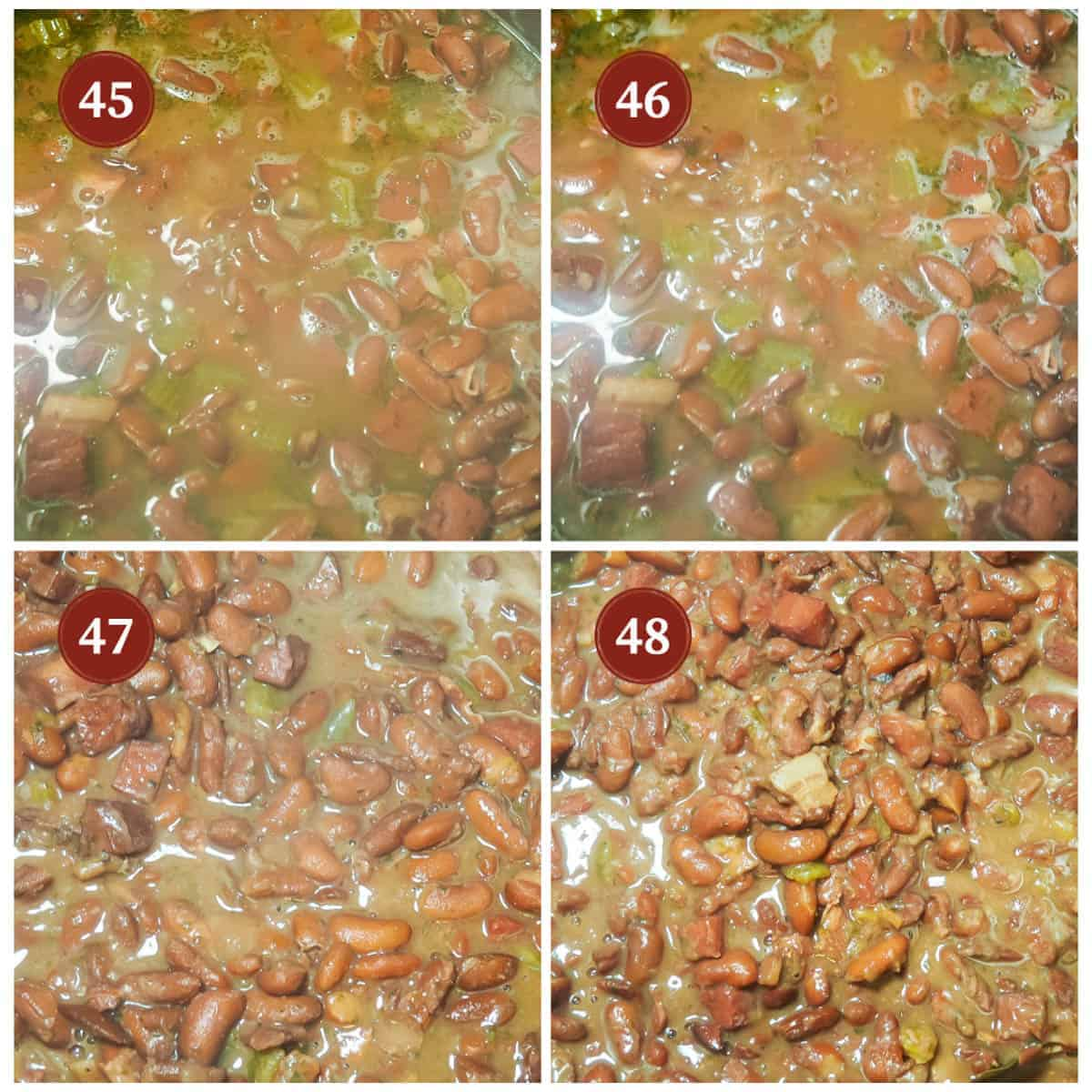 A process collage of images for making red beans, steps 45 - 48. Time lapse of the liquid cooking down.