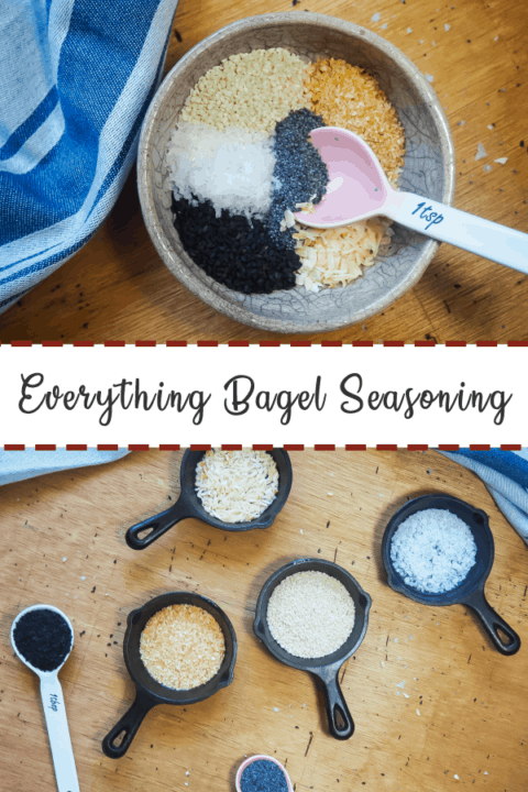A pin image of a bowl of the unmixed ingredients in everything bagel seasoning with a pink spoon on the top and the ingredients in everything bagel seasoning in small bowls on the bottom.