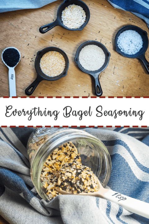 A pin image of small cast iron pans and ceramic measuring spoons with the ingredients of everything bagel seasoning on top and a mason jar spilling everything bagel seasoning onto a towel on the bottom.