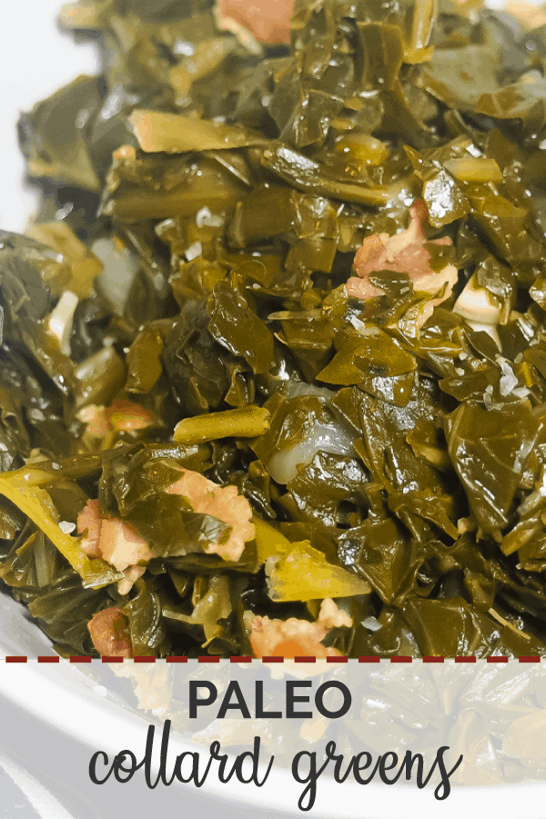 A pin image of a white bowl of collard greens with bits of bacon.