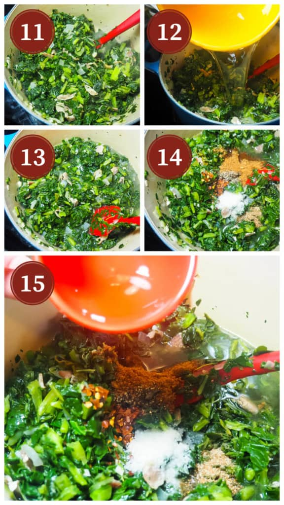A collage of pictures showing the process of cooking collard greens, steps 11 - 15.