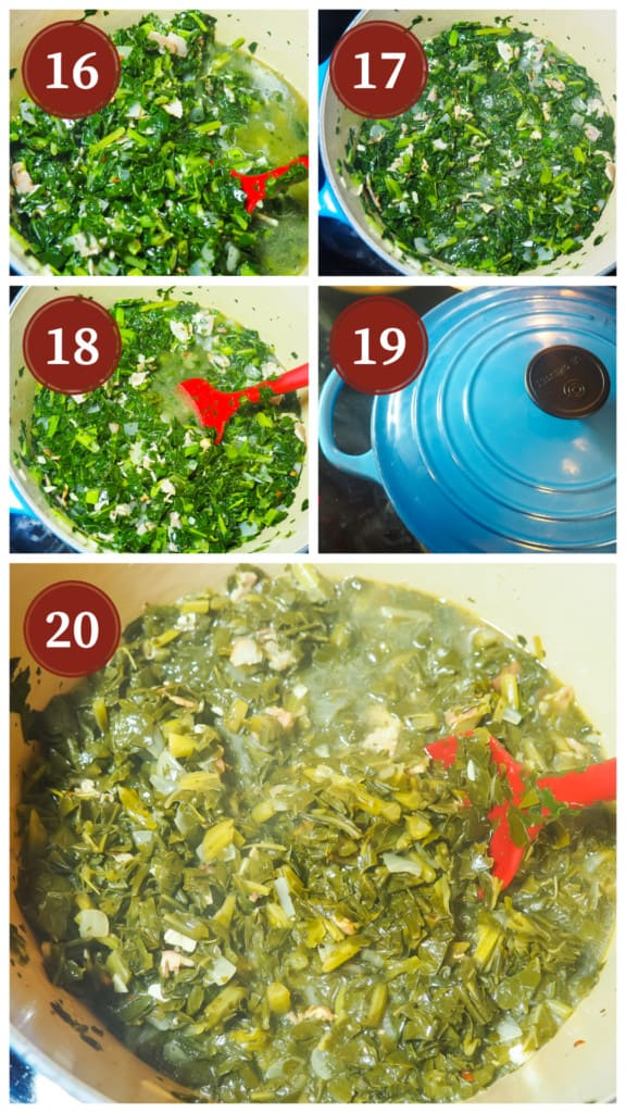 A collage of pictures of the process of cooking collard greens. Steps 16 - 20.