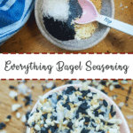 A pin image of a bowl of the unmixed ingredients in everything bagel seasoning with a pink spoon on the top and everything bagel seasoning in pink spoon on the bottom.