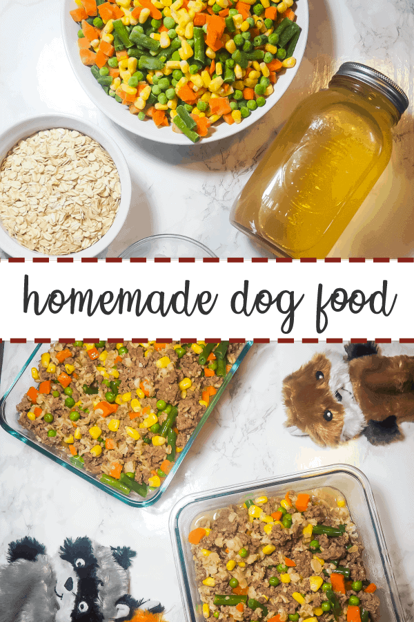 A pin image with ingredients for homemade dog food on the top half and two glass containers of homemade dog food on a marble background with three dog toys on the bottom.