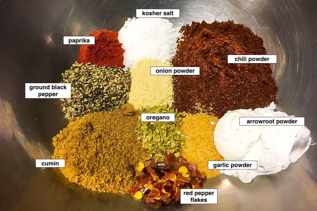 An image of the ingredients in taco seasoning in a silver bowl, labeled.