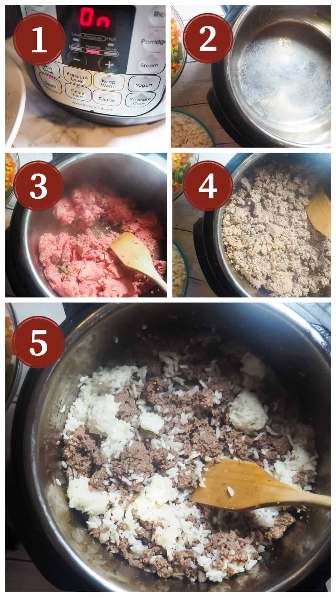 A process collage of images for making instant pot dog food, steps 1 - 5.