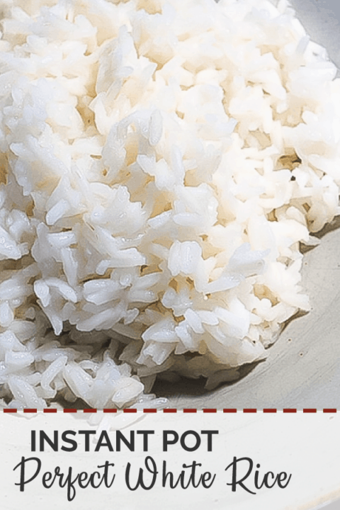 A pin image of a bowl of white rice that was cooked in an instant pot.