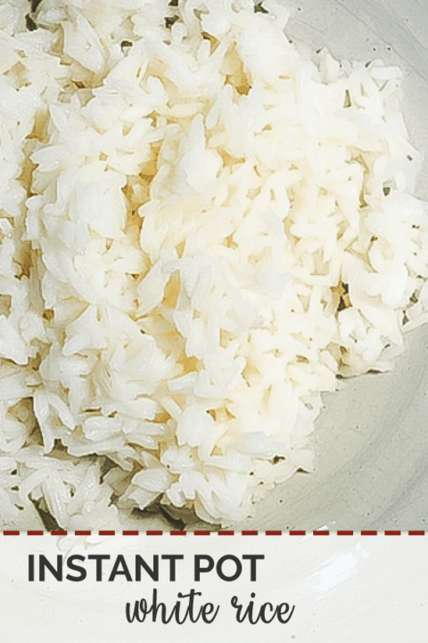 A pin image of a bowl of white rice cooked in an instant pot.