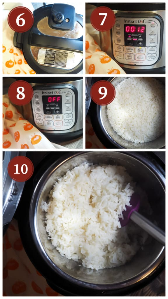 A collage of pictures of the process of cooking white rice in an instant pot. Steps 6 - 10.