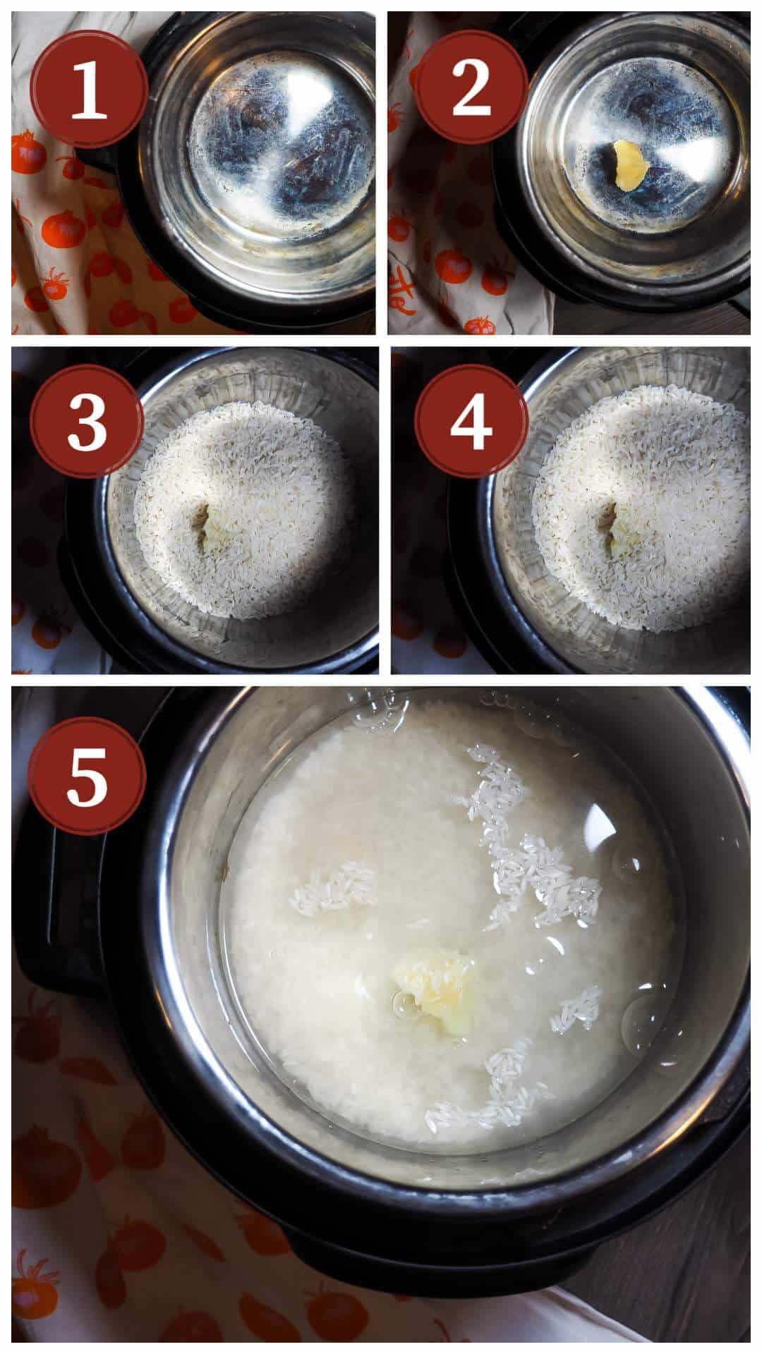 A collage of pictures of the process of cooking white rice in an instant pot. Steps 1 - 5.