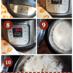 A pin image of a collage of pictures of the process of cooking white rice in an instant pot.