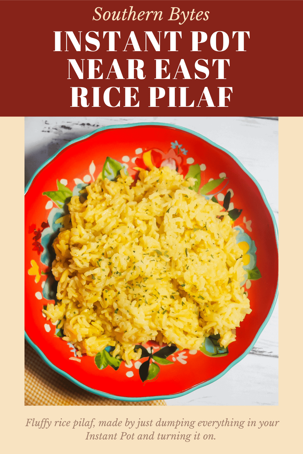 A pin image of a red bowl filled with Instant Pot rice pilaf.
