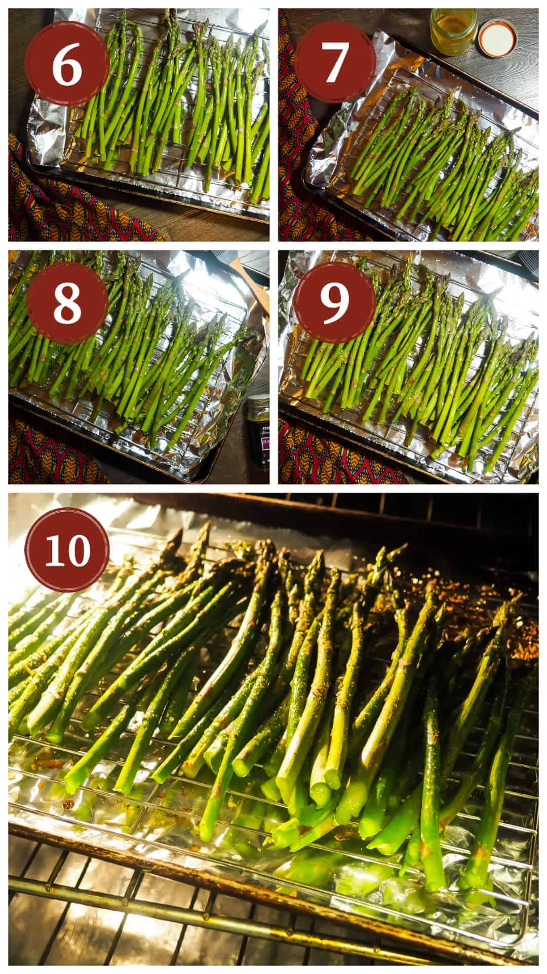 A collage of pictures of the process of cooking oven roasted asparagus, steps 6 - 10.