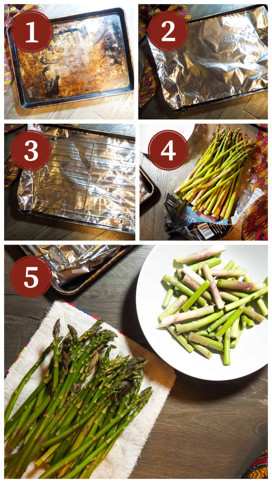 A collage of pictures of the process of cooking oven roasted asparagus, steps 1 - 5.