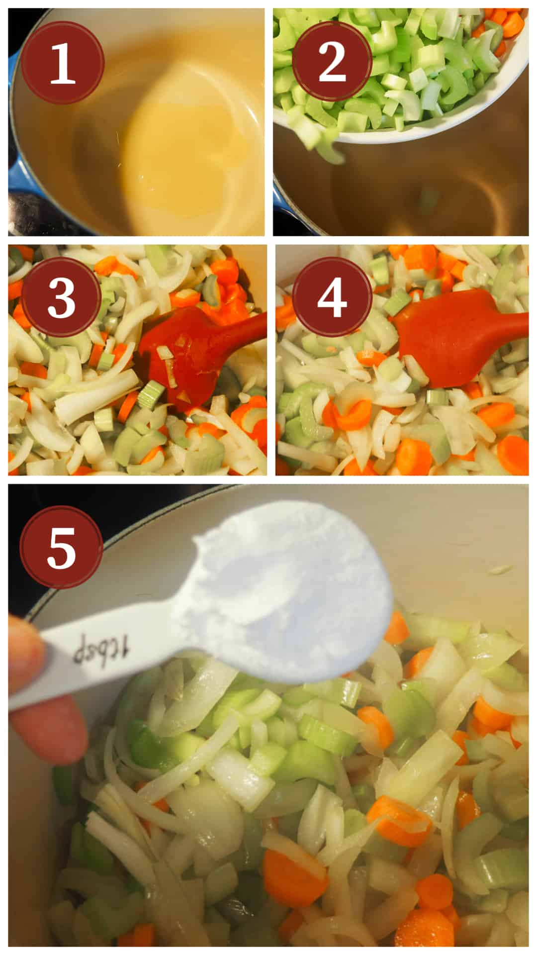 A collage of images showing the process of cooking paleo chicken noodle soup, steps 1 - 5.